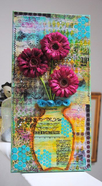 Mixed media canvas - vase with flowers