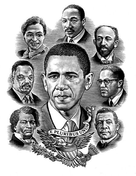 Bill Sanderson created this multi-portrait illustration for the September issue of 'The Atlantic,' showing President Obama surrounded by important figures in African American History: Frederick Douglas, Booker T Washington, WEB DuBois, Martin Luther King, Malcolm X, Jessie Jackson Senior and Rosa Parks.