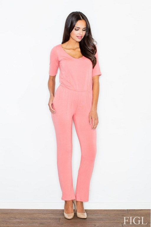 Jumpsuit women with a tear on his back in a coral color