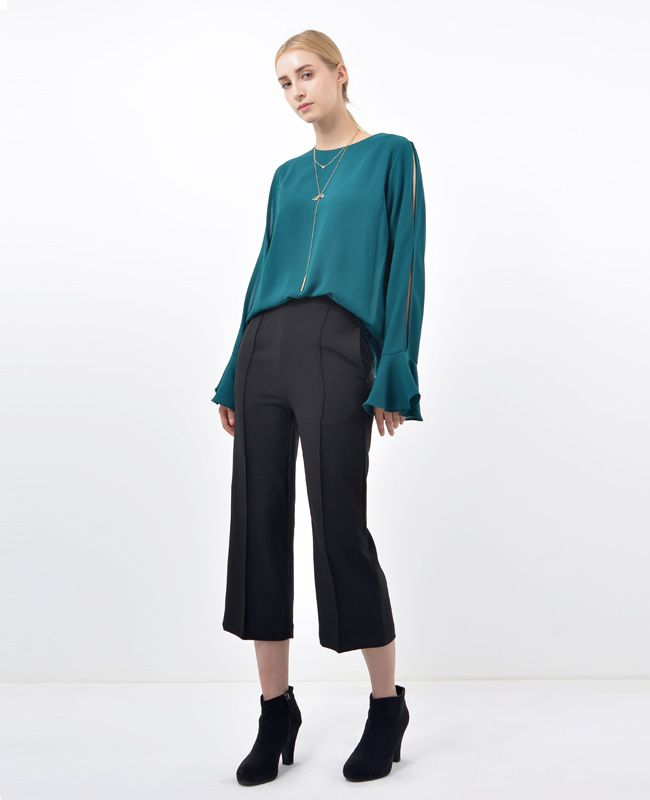 Misha Cropped black Straight-leg Pants