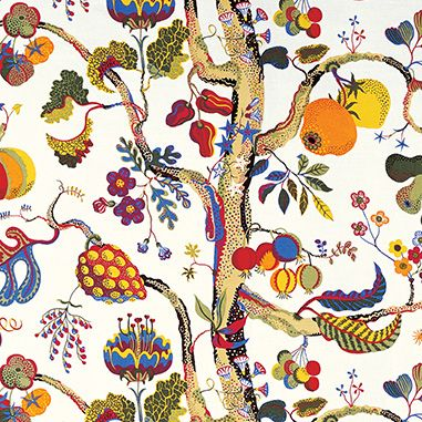The pattern Vegetable Tree is a variation of the Tree of Life theme that Josef Frank often used. With tongue-in-cheek he transformed it into a vegetable tree. Frank's stylized forms and intensity of colour that blend nature with fantasy is a sight to behold. Josef Frank designed Vegetable Tree while in New York in 1941-1946.