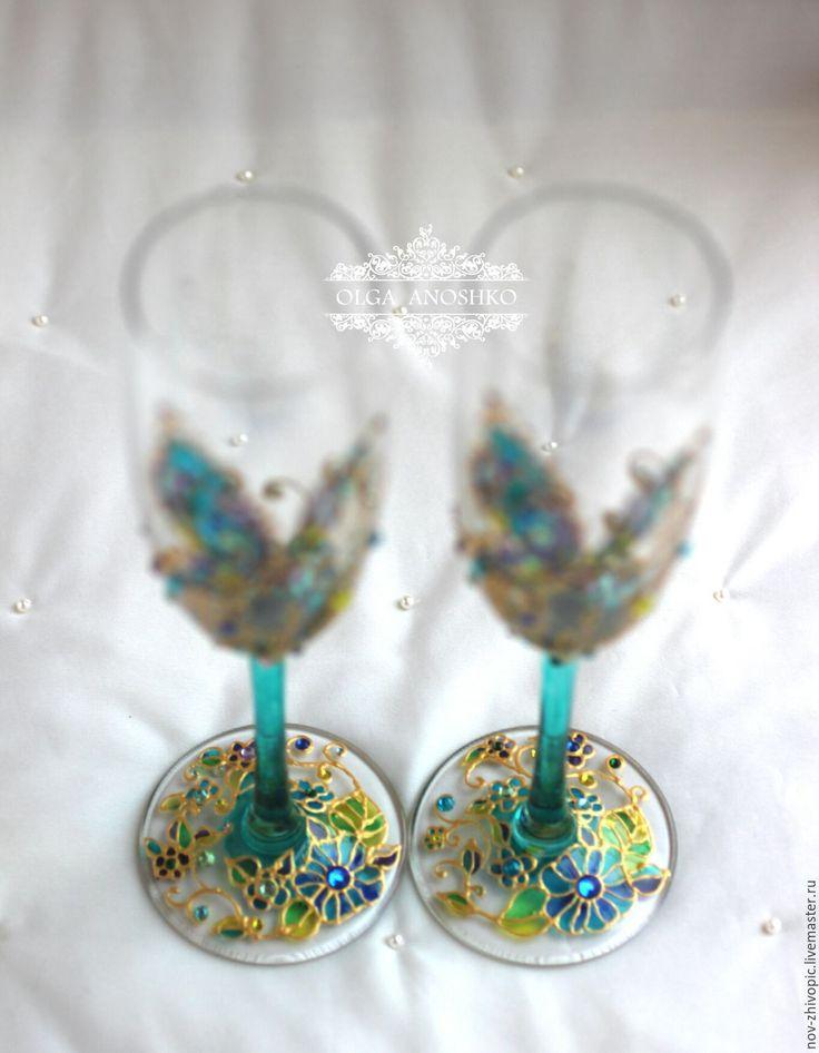 """Купить Свадебные бокалы """"Полет Бабочки"""" в новом исполнении. Роспись. - свадебные аксессуары, свадебные бокалы"""