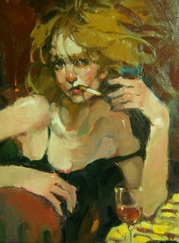 """""""Smokin'"""" Woman and Wine, Cigarette, Cocktail Hour, Happy Hour. Night Out., painting by artist Kim Roberti"""