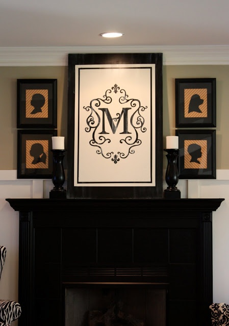get yard flag with your family initial from Bed, Bath & Beyond , frame it (on clearance <10 bucks)