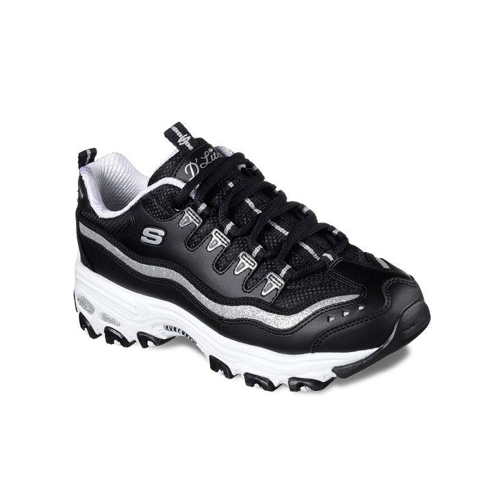 Skechers D Lites Black Comfort Slip On Work Casual Sneakers Shoes