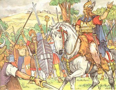 Vercingétorix rallient les tribus de la Gaule contre l'envahisseur romain. L'illustrateur Henri Dimpre (1907-1971)