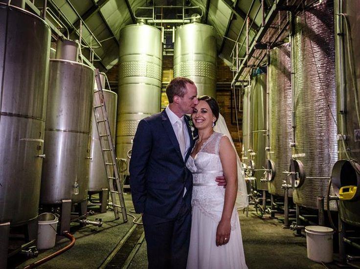 Wedding Photos within the working cellar