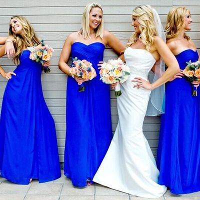 Blue Chiffon Bridesmaid Dresses with Ruching Detail, Sweetheart Empire Bridesmaid Dresses, Simple Prom Gowns,Off the shoulder dress