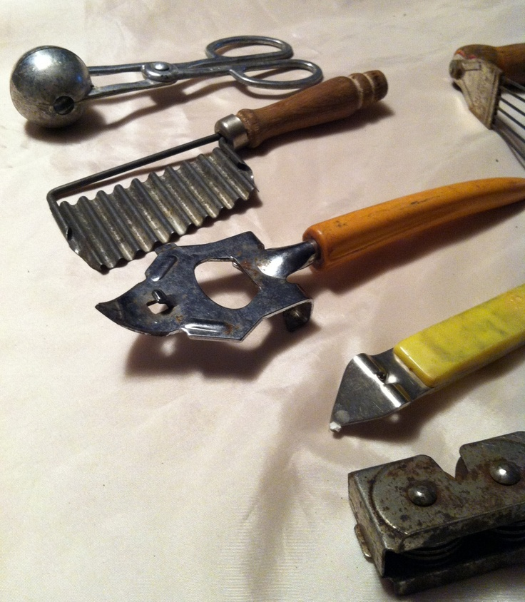 vintage kitchen tools. collection of vintage kitchen tools. instruments. dough mixer, bottle opener, bean tools s