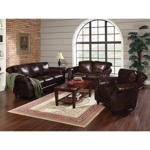 3-Piece Tivoli Traditional Leather Sofa, Loveseat