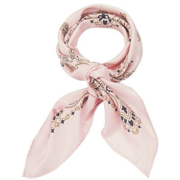 Manipuri Women's Bandana Print Pink Silk Square Scarf found on Polyvore featuring accessories, scarves, bandana, light pink, pink handkerchief, bandana scarves, silk bandana, american bandana and silk shawl