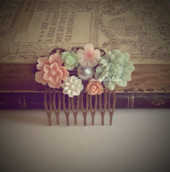 roze munt groen haar Kam pastel kleuren bruiloft door Jewelsalem, $18.00