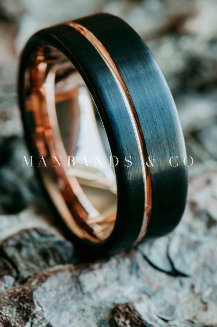 Halcyon Rose | Men's Black & Rose Gold Wedding Band | Men's Ring| Tungsten |…