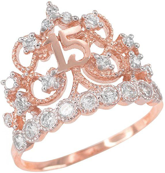 Amazon.com: 10k Rose Gold CZ-Studded Crown Sweet 15 Anos Quinceanera Ring (Size 8): Jewelry