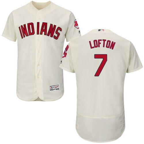 sale retailer 5eb5d 8e306 Indians #7 Kenny Lofton Cream Flexbase Authentic Collection ...
