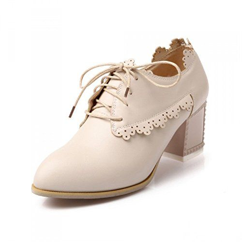 Carol Shoes Vintage Women's Chunky Heel Oxfords Shoes (4.5, Beige) Carol  Shoes http