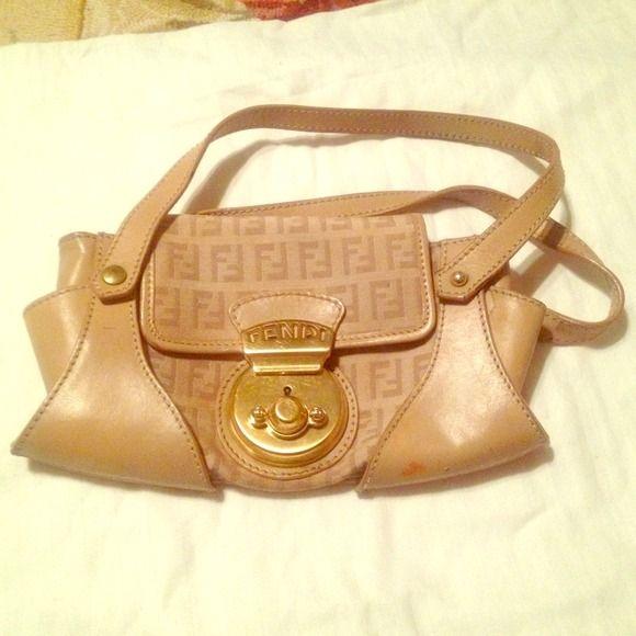 Fendi purse Mini fendi purse. Super cute and chic ! Beige and tan and gold FENDI Bags