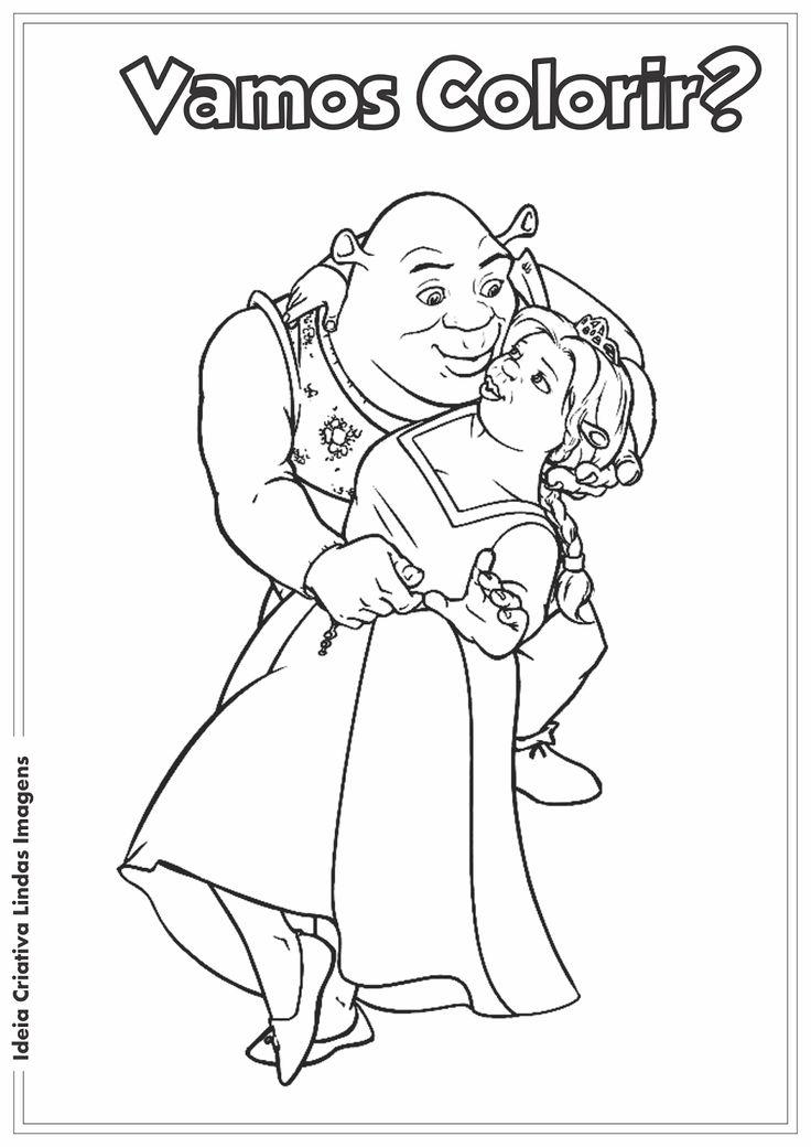Ideia Criativa Lindas Imagens: Shrek e Fiona desenho para
