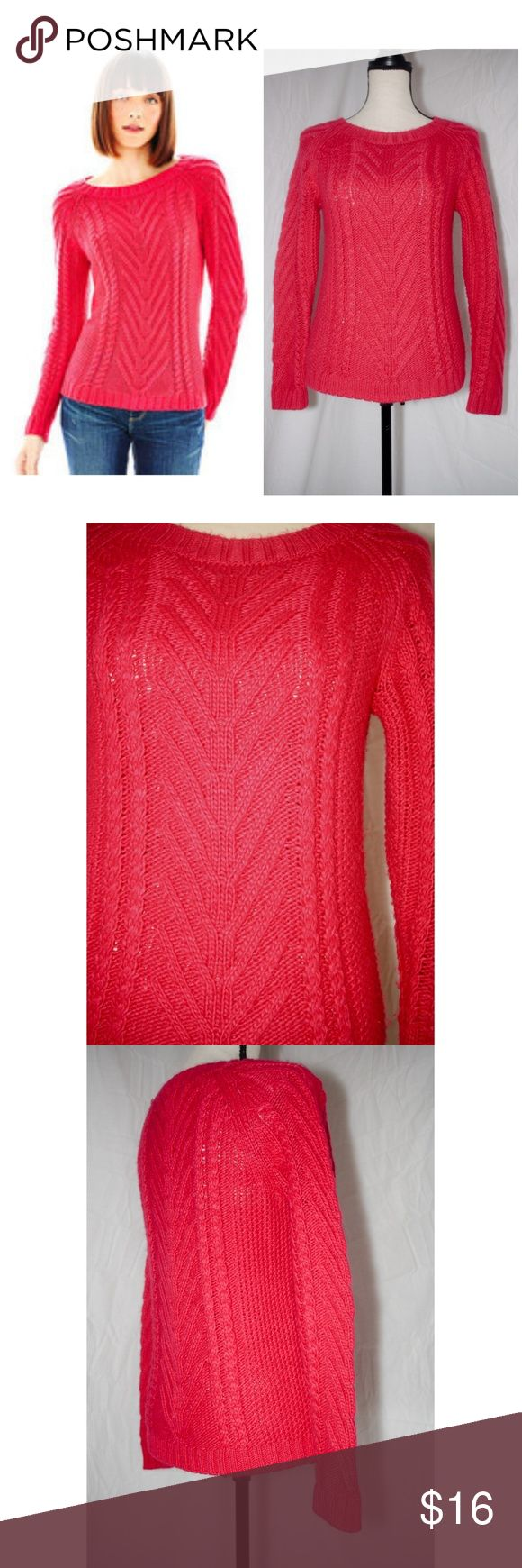 "Joe Fresh Cable Knit Sweater Fuzzy hot pink sweater by Joe Fresh. EUC.  Dress form measurements: Chest 34"" x Shoulders 36"" x Waist 27"" x Hips 36.5"" x Neck 12.5"" Joe Fresh Sweaters"