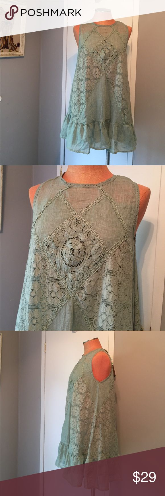 Umgee mint green tunic dress Wonderful green tunic dress by Umgee. Brand new with Tags attached. Labeled a Large, runs small this can fit a size 6-8 perfect. Umgee Tops Tunics