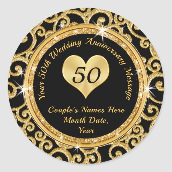 Custom Black And Gold 50th Anniversary Stickers Zazzle Com In 2020 Anniversary Party Supplies Gold Anniversary Party 50th Wedding Anniversary Party