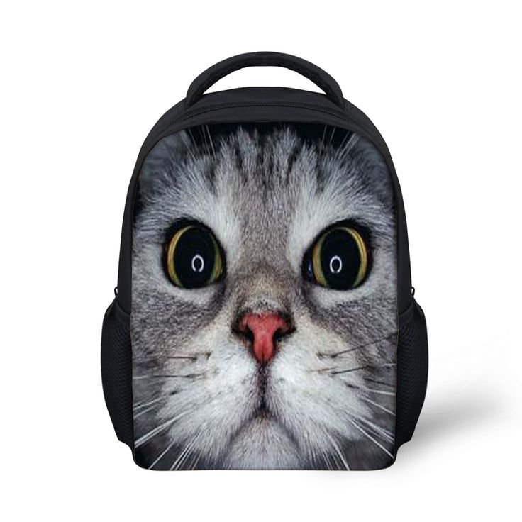 12-inch Black Cat Backpack Animal Bags Women Children School Bags Girls Teenager Mochila ZOO Animals print Bag boys Backpack