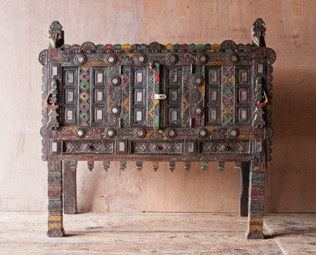 Rustic colorful Indian damchiya cabinet- Great for sideboards, entryway consoles, or mini-bars. http://shopnectar.com/product-rustic-colorful-indian-damchiya-cabinet