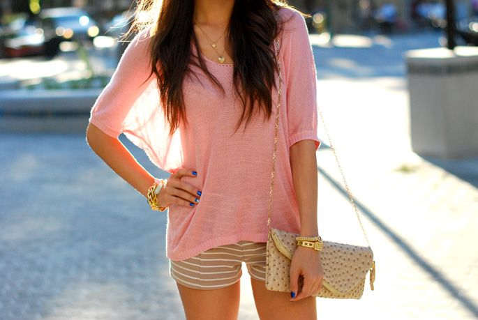 PhotobucketSummer Fashion, Fashion Clothing, Fashion Style, Autumn Outfit, Shirts, Colors, Pink, Cute Outfit, Stripes Shorts
