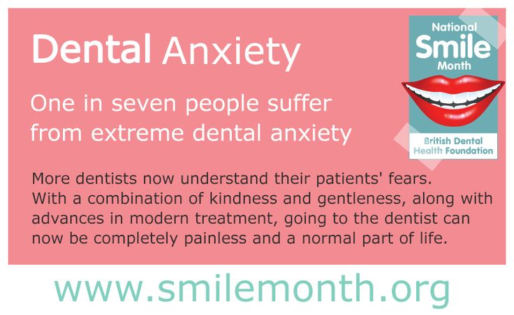 #‎NSM15‬ Dental Anxiety  One in seven people suffer from extreme dental anxiety. More dentists now understand their patients' fears. With a combination of kindness and gentleness, along with advances in modern treatment, going to the dentist can now be completely painless and a normal part of life.  For more visit: http://www.nationalsmilemonth.org/  ‪#‎NationalSmileMonth‬ ‪#‎SmileMonth‬
