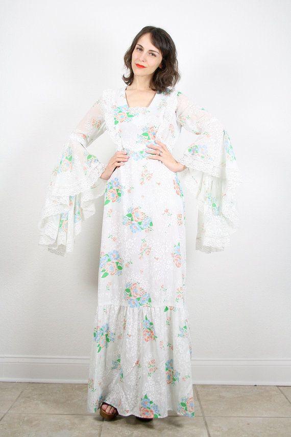 Vintage hippie wedding dress boho festival maxi dress for Bell sleeve wedding dress