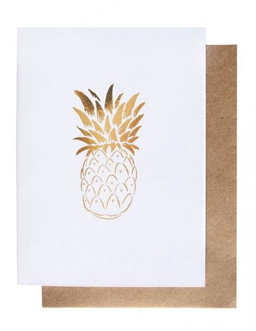 Pineapple - Gold Foil Greeting Card – THAT LITTLE SHOP