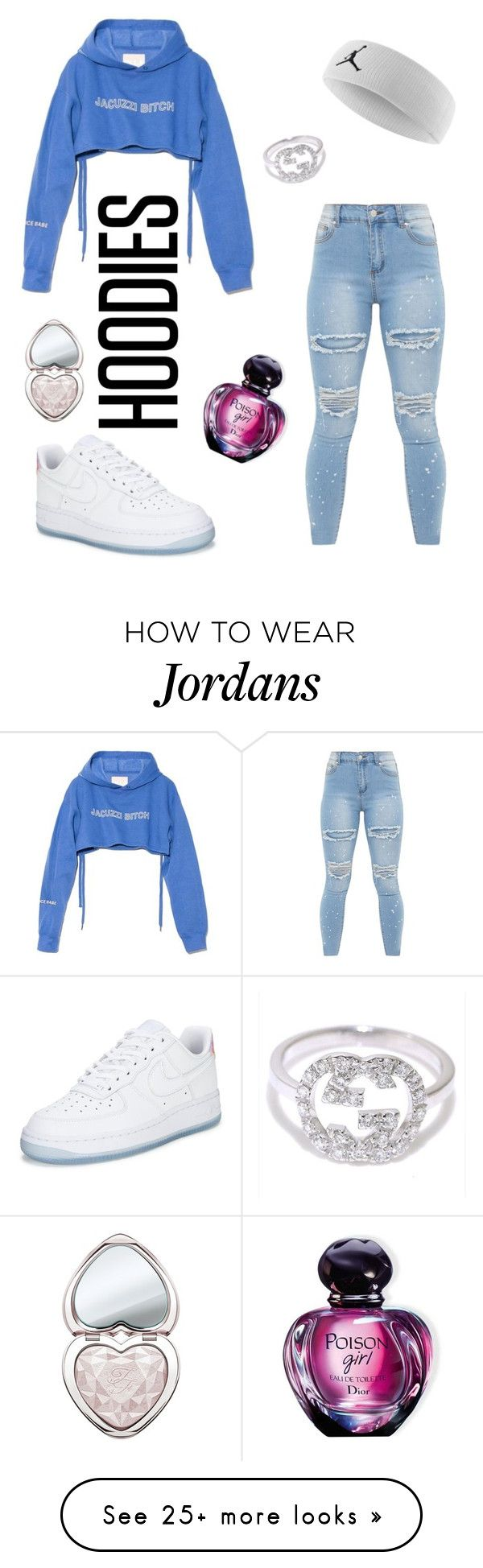 """hood"" by danielahoney on Polyvore featuring NIKE, Jacuzzi, Gucci, Too Faced Cosmetics, Christian Dior and Hoodies"