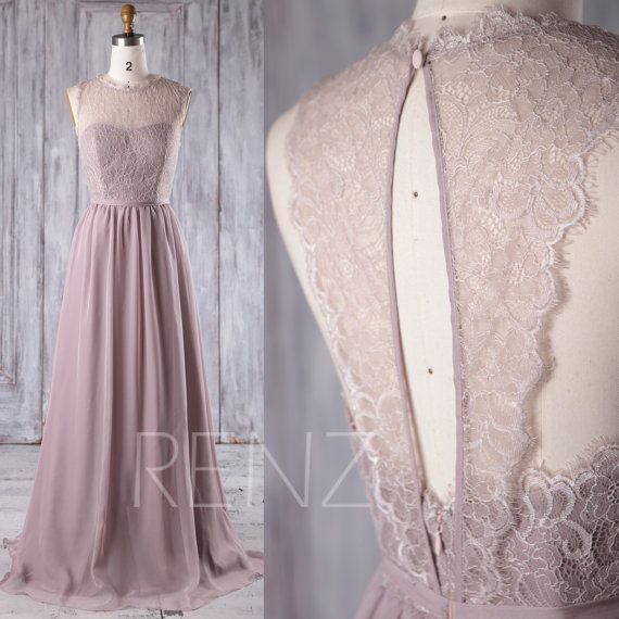 2017 Rose Gray Chiffon Lace Bridesmaid Dress Key Hole von RenzRags