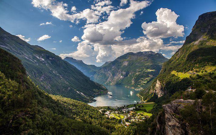 Télécharger fonds d'écran Geiranger Fjord, les rochers, la Norvège, les arbres, fjord, des paquebots de croisière