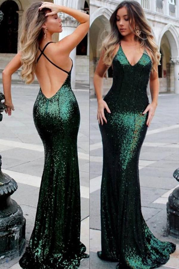 Spaghetti Strap V-neck Burgundy Sequins Sexy Mermaid Prom Dresses ... 5a1245d16