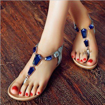 20182017 Sandals Womens Sandal Beach Flip Flops Wedge with Studded Straps Style Thongs Style 2928 Outlet Store