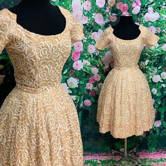 50s Suzy Perette Gold Party Dress Embroidered Flowers