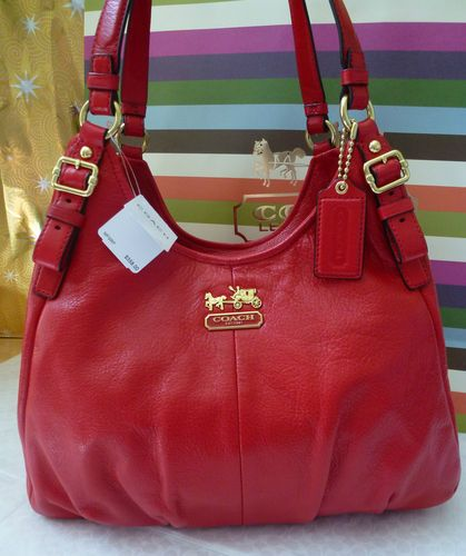 COACH MADISON CHERRY RED LEATHER MAGGIE SHOULDER BAG PURSE