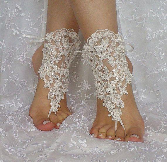 ivory sequined beach wedding barefoot sandal by WeddingGood