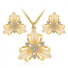 Šperky Sady pro ženy dívky Gold / Silver pokovené módní Austrian Crystal Moonstone znamenitý Flower Chain Náhrdelník Náušnice (Čína (pevninská část))