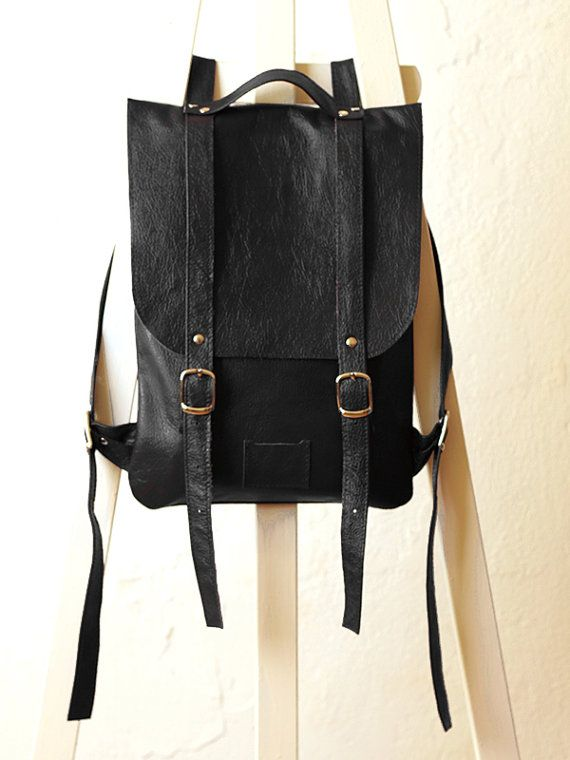 Black crack-leather backpack rucksack / To order by kokosina