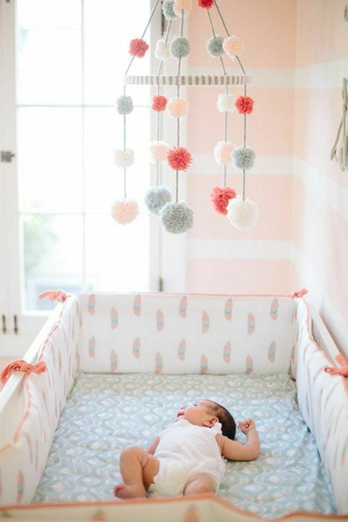 Chambre Rose Et Gris, Décoration Chambre Bébé Fille, Matelas Recouvert De  Drap En Couleur