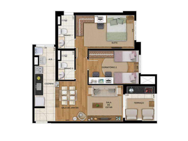 17 best images about plantas de apartamentos on pinterest for 70m2 house design