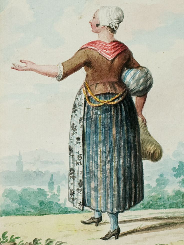 "1770s - 18th century - woman's outfit with mixed print fabrics (jacket in solid, skirt in stripes, apron in floral, neckerchief in plaid / checks) - From ""An album containing 90 fine water color paintings of costumes."" Turin : [s.n.] , [ca.1775]. In the collection of the Bunka Fashion College in Japan."