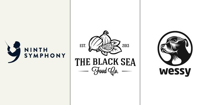 Effective, Eye Catching Black on White Logos  Ninth Symphony/The Black Sea Food Co/Wessy