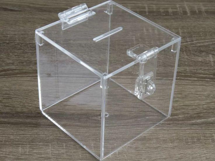 urna em acrílico - tampa e fecho p/ cadeado - 15 x15 x15