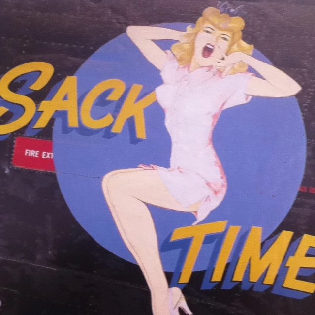"""""""Sack Time"""" one of the Vargas Girls on a B-24 featured in Valants Book """"Vintage Aircraft Nose Art"""" #noseart [[[... I hope that my civilization doesn't forget that we brought womanly beauty into battle to tip the scales of fate to our fortune and our beliefs... ]]]"""