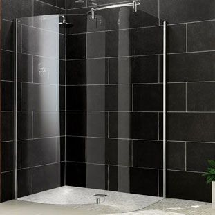 Impey Aqua Screen Light Curved Wet Room Front Panel, 1500mm Wide, 5mm Glass