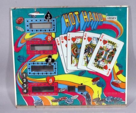 "Vintage Hot Hand By Stern Pinball Machine Back-glass Panel, 28.5""W x 25.5"", Chipped Corner and Wear To Paint, See Photos"