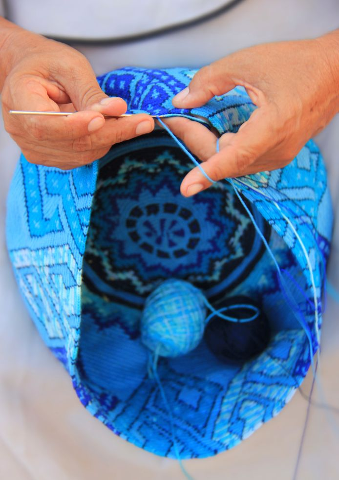 Tapestry Crochet bag being made by the Wayuu Tribe in Colombia. #handicraft #bag #weaving #colombia #travelandmakeadifference